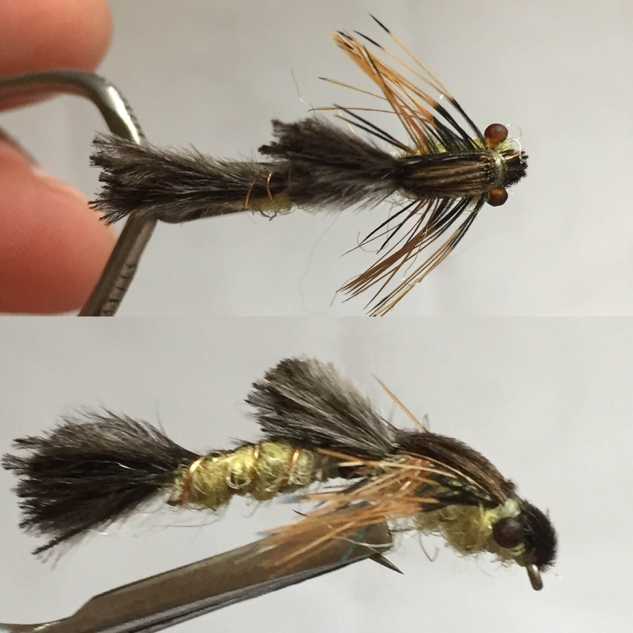 Wiggle hex nymph for Sixgill fishing reels